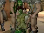 Gangbang hentai cu o tarfa tatoasa inconjurata de puli mari
